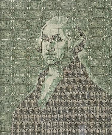 george washington dollar bill art. on the US one dollar bill.