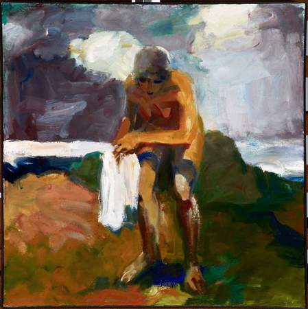 Elmer Bischoff (American, 1916–1991). Girl with towel, 1960. Oil on canvas.