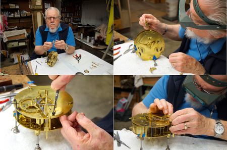 A clockmaker works on the intricate interior of the 18th-century French clock