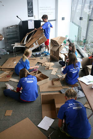 Summer art campers create cardboard sculptures inspired by Louise Nevelson art