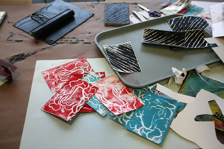 Linoleum-printed patterned paper constructed sculptures made with no adhesives