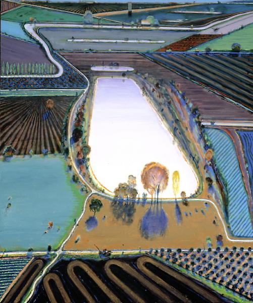 This week we feature a landscape painted by one of our marquee artists, Wayne  Thiebaud. - FRAME|WORK: Ponds And Streams By Wayne Thiebaud FAMSF