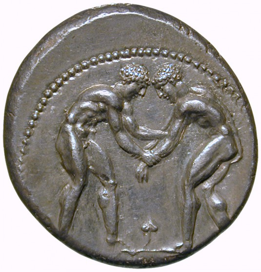 Silver stater with wrestlers