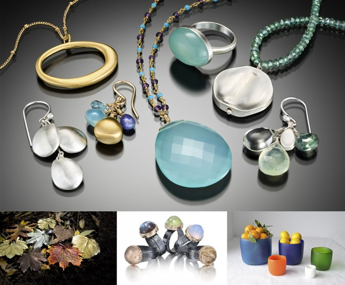 A variety of jewels, housewares, and unique gifts that will be featured in the Holiday Artisan Fair.