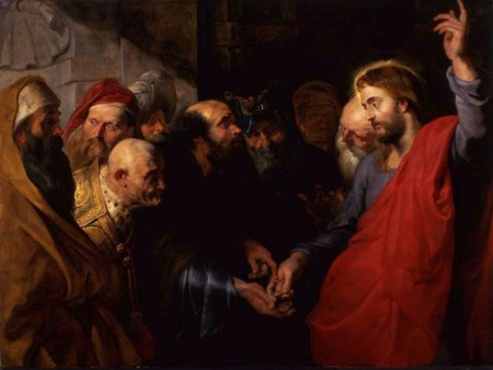 A historical painting depicting Jesus and moneylenders.