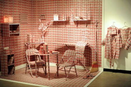 A room covered in gingham checked print.