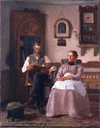 "Thomas Hovenden, ""The Old Version (also Sunday Afternoon),"" 1881"