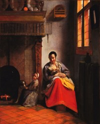 "Pieter de Hooch, ""Woman with Children in an Interior,"" ca. 1658-1660"