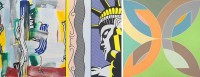 Roy Lichtenstein paining of statue of liberty and expressionist brushtrokes and geometric painting by Frank Stella based on shape of protractor