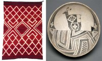 Southwest, Navajo red tapestry weave with pattern and Mimbres bowl of dear in geometric landscape