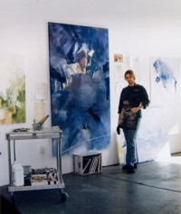 "Peggy Gyulai in her studio with ""Orchestra"""