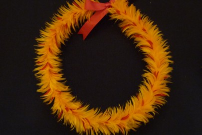 Hawaiian feather lei by Herman Mossman Tachera