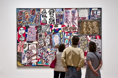 visitors looking at Jean Dubuffet painting
