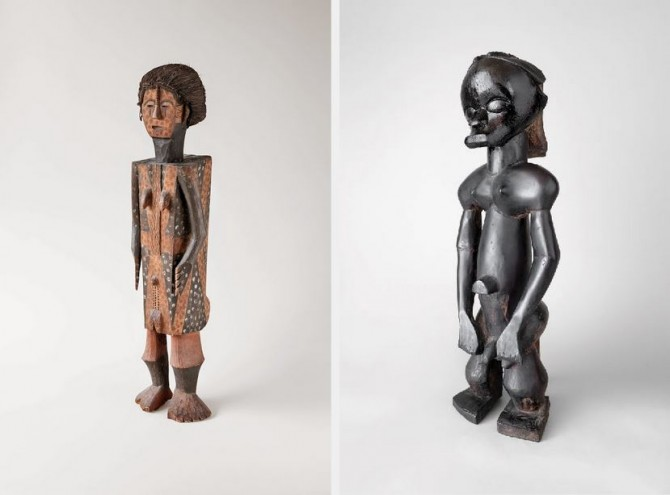 L: Efomba, commemorative figure, first quarter of 20th century. Democratic Republic of the Congo, Nkundu. Wood, fiber, and pigment. 2013.78.5. Fine Arts Museums of San Francisco, gift of Richard H. Scheller. Photo © Robert A. Kato; R: Eyema byeri (the image of the ancestor), figure from a reliquary assemblage, 19th century. Gabon, Fang Ntumu. Wood. Private collection. Photo © Robert A. Kato