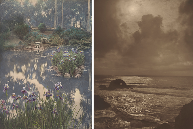L: Willard E. Worden, Japanese Tea Garden, ca. 1915. Gelatin silver print with applied color. Jerry Bianchini Collection. R: Willard E. Worden, Seal Rocks, ca. 1915. Sepia-toned gelatin silver print. Collection of Susan Hill