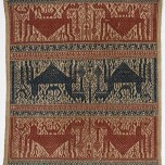 """Ceremonial cloth (""""tampan""""), mid-19th century, Indonesia, Sumatra, Cotton;supplementary-weft weave, 41x 35in. (104.1 x 88.9 cm). Fine Arts Museums of San Francisco; gift of Wells Fargo Bank, 1987.37.1"""