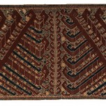 """Ceremonial hanging (""""palepai""""), 19th century. Indonesia, Sumatra, Lampung, Kalianda. Handspun cotton; plain weave with supplementary-weft patterning, 129 15/16 x 27 3/16 in. (330 x 69 cm). Fine Arts Museums of San Francisco; museum purchase, Textile Arts Council Endowment Fund and the Nasaw Family Foundation Fund, 2010.18"""