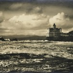 Willard E. Worden, <em>Storm on the Ocean Beach</em>,1904. Gelatin silver print. RD Moore Collection