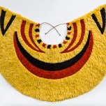 'Ahu 'ula (cape), pre-1861. Yellow and black 'ō 'ō (Moho nobilis) feathers, red 'i'iwi (Vestiaria coccinea) feathers, and olonā (Touchardia latifolia) fiber. Bernice Pauahi Bishop Museum, Ethnology Collection, 09670/1909.007. Photograph by Hal Lum and Masayo Suzuki