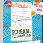 Raymond Pettibon and Cristin Sheehan Sullivan, cover of Scream at the Librarian: Sketches of Our Patrons in Downtown Los Angeles