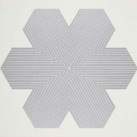 """Frank Stella, """"Irving Blum Memorial Edition"""", from the """"Star of Persia Series"""", 1967. Lithograph printed in metallic silver on English Vellum Graph paper, 25 3/4 x 31 3/4 in. Printed by James Webb. Published by Gemini G.E.L., Los Angeles. Anderson Graphic Arts Collection, gift of the Harry W. and Mary Margaret Anderson Charitable Foundation, 1996.74.457 © 2016 Frank Stella / Artists Rights Society (ARS), New York"""
