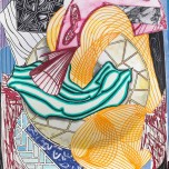"""Frank Stella, """"The Cabin. Ahab and Starbuck (Dome)"""", from the series Moby Dick Domes, 1992. Color relief-printed etching, aquatint, and engraving on shaped handmade, hand-colored TGL paper, 73 x 53 x 6 in. Printed by Kathy Cho. Published by Tyler Graphics Ltd., Mount Kisco, New York. Anderson Graphic Arts Collection, gift of Richard Guggenhime, 2004.14.2 © 2016 Frank Stella / Artists Rights Society (ARS), New York"""