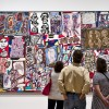 visitors looking at Robert Rauschenberg painting