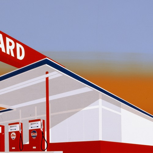 "Ed Ruscha, ""Standard Station"", 1966. Color screenprint, 25 5/8 x 40 in. Published by Audrey Sabol, Villanova, PA. Fine Arts Museums of San Francisco, Museum purchase, Mrs. Paul L. Wattis Fund, 2000.131.5.1 © Ed Ruscha"