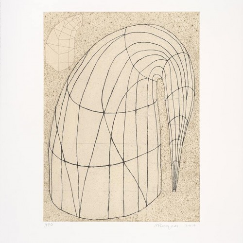 """Martin Puryear, """"Untitled (State II, 2014)"""", 2014. Color soft-ground etching and drypoint on chine collé, 35 x 28 in. Published by Paulson Bott Press. FAMSF, gift of Paulson Bott Press, 2015.42.83"""