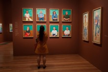 Installation view of David Hockney exhibition