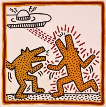 Keith Haring, Untitled, 1982. Baked enamel on metal. Private collection © Keith Haring Foundation