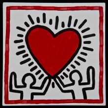 Keith Haring, Untitled. Oil on aluminium. Collection of Justin Warsh. Keith Haring artwork © Keith Haring Foundation