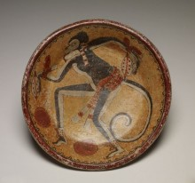Plate with monkey and cacao pods, 600–900 AD