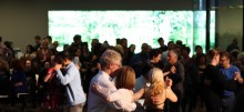 Terence Clarke and Beatrice Bowles lead a tango milonga in Wilsey Court during Friday Nights at the de Young