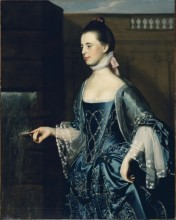 John Singleton Copley painting of Mrs. Daniel Sargent (Mary Turner) wearing blue dress with embellishments