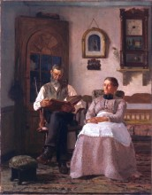 """Thomas Hovenden, """"The Old Version (also Sunday Afternoon),"""" 1881"""