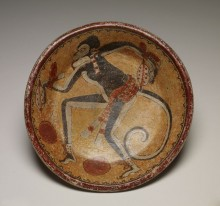 Plate with monkey and cacao pods, AD 600–900 (late Classic period)