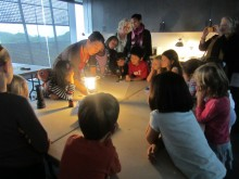 children learning about art