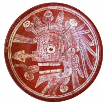 Bowl depicting the head of a death deity, 1400-1500. Mexico, Nayarit, Aztatlan Culture
