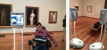L: A visitor on the Beam explores the gallery with a friend; R: Two visitors on Beams explore the galleries together