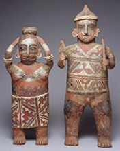 Standing male and female figure, 300 B.C.-A.D. 300, West Mexico, Nayarit