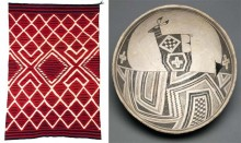 M: Serape, ca. 1850. United States, Southwest, Navajo. Wool; tapestry weave. The Weisel Family Art Foundation, L12.103.20. R: Bowl (deer in geometric landscape), ca. 1010–1130. United States, Southwest, Mimbres. Earthenware with pigment. Gift of the Thomas W. Weisel Family to the Fine Arts Museums of San Francisco, 2013.76.168