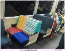 yarnbombed BART seat by Streetcolor