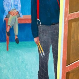 "David Hockney, ""Self Portrait with Charlie"", 2005"