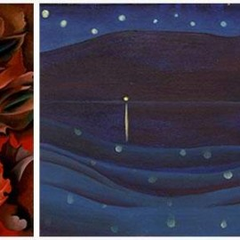 "L: Georgia O'Keeffe, ""Autumn Leaves"", 1924. R: Georgia O'Keeffe, ""Starlight Night"", Lake George, 1922"