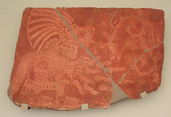 Mural with feline with flames and sound scroll, 400-600, Mexico