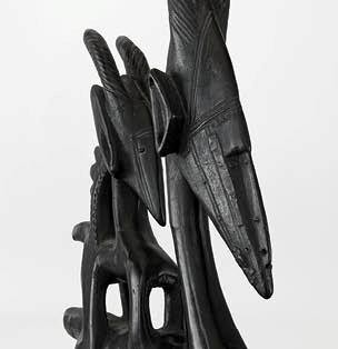 Chiwara kun (farming wild animal) headdress (detail), early 20th century. Mali, Bamana. Wood, metal, and plastic. FAMSF, gift of Richard H. Scheller, 2014.62.1. Photo © Robert A. Kato