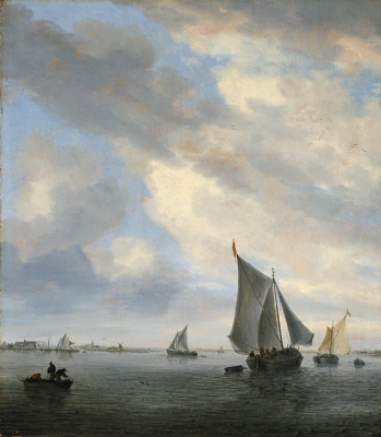 "Salomon van Ruysdael, ""View of a Lake with Sailing Ships,"" ca. 1650–1651"
