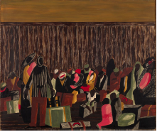 Painting of train station showing Black American migration