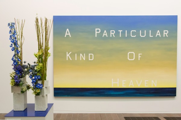 Edward Ruscha, A Particular Kind of Heaven, 1983. Oil on canvas. FAMSF, museum purchase, Mrs. Paul L. Wattis Fund, 2001.85. Floral design by Michiko Shimoda. Photograph © Greg A. Lato / latoga photography